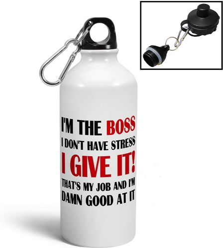 Im The Boss Funny Aluminium Sports Water Bottle/Canteen